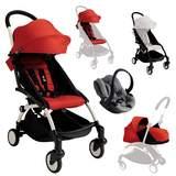 Paket YOYO+ Chassi med Sittbas + Färgklädsel + Babyskydd + Liggbas Vit/Röd/Svart