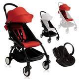 Paket YOYO+ Chassi med Sittbas + Färgklädsel + Babyskydd Svart/Röd