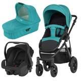 Paket Barnvagn + Liggdel + Babyskydd Lagoon Green/Cosmos Black