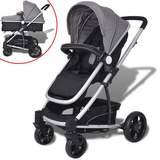 2-i-1 Sitt-/liggvagn aluminium grå och svart