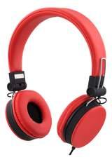 Streetz headset för iPhone, mikrofon, noisecancelling,1,5m, röd
